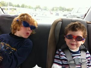 Gabe & Finn with goggles