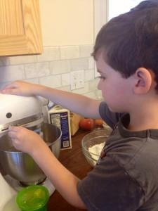 Finny at the mixing bowl