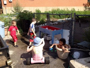 Playing in water at school